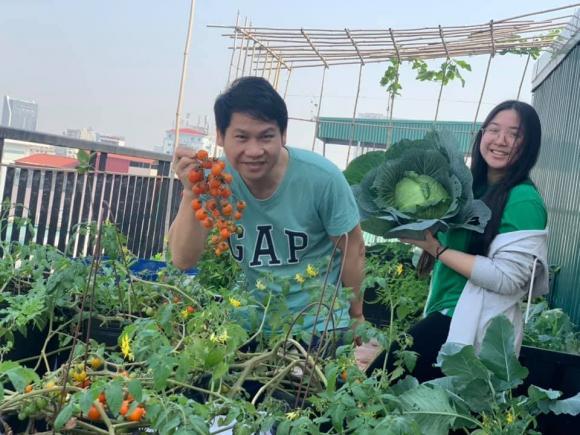 Ca sĩ Trọng Tấn và con gái thu hoạch rau trồng trên tầng thượng-5