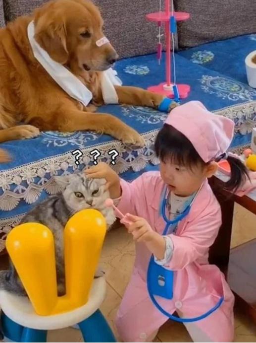 """Bé gái đóng vai bác sĩ, nhìn vẻ mặt cam chịu số phận"""" của các bệnh nhân mà người xem cười rụng răng""""-3"""