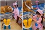 """Bé gái đóng vai bác sĩ, nhìn vẻ mặt """"cam chịu số phận"""" của các bệnh nhân mà người xem cười """"rụng răng"""""""