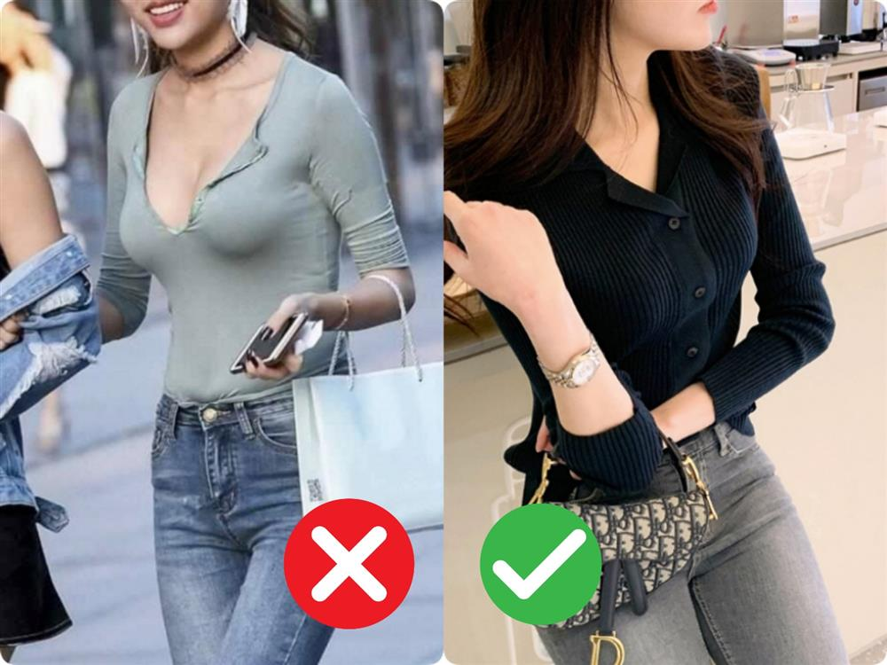 Đừng khiến bản thân trở nên lố lăng kém sang với những kiểu áo cổ V nhạy cảm này-5