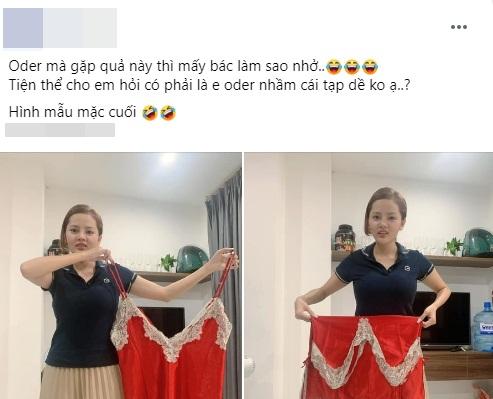 """Mua váy ngủ gợi cảm, cô gái không ngờ shop lại chuyển nhầm size tạp dề"""", hình ảnh sau khi mặc không khác gì pha tấu hài chuyên nghiệp-1"""