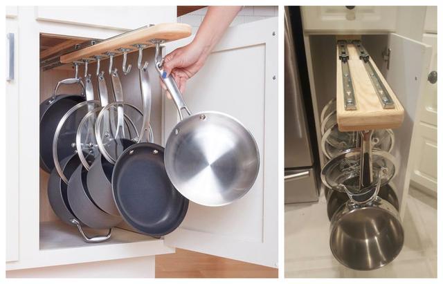 Trong nhà bếp, xoong nồi là thứ khó cất giữ nhất, nhưng nếu nắm bắt được hai điểm này, chúng sẽ được sắp xếp gọn gàng đến bất ngờ-12