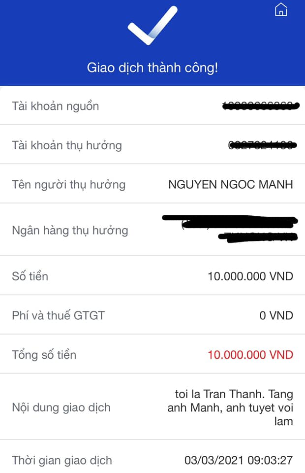Nói là làm, Trấn Thành chuyển khoản tặng người hùng Nguyễn Ngọc Mạnh 10 triệu đồng để bày tỏ lòng ngưỡng mộ-1