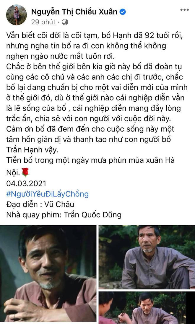 Sao Việt xót thương khi hay tin NSND Trần Hạnh qua đời-3
