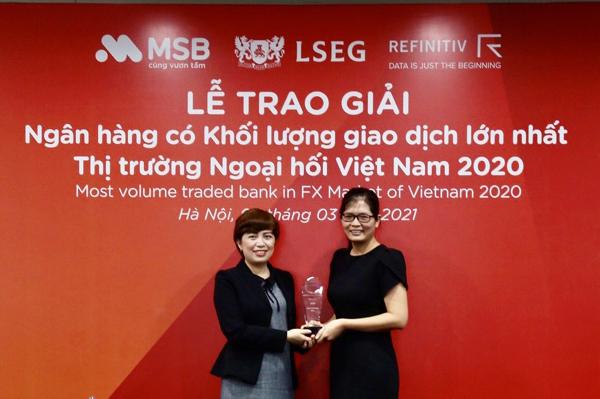 MSB được vinh danh là ngân hàng có khối lượng giao dịch ngoại hối lớn nhất Việt Nam-1