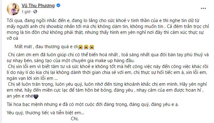 Hình ảnh nơi an nghỉ của chuyên gia trang điểm Minh Lộc được Vũ Thu Phương tiết lộ giữa lúc cả showbiz hoang mang-1