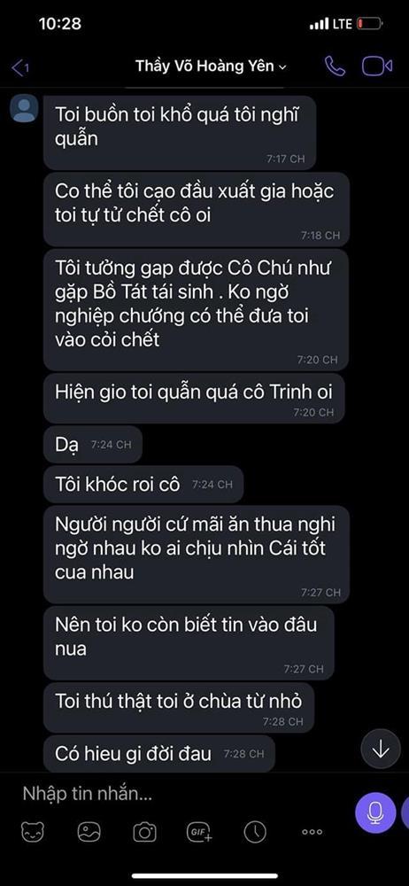 Vợ ông Dũng lò vôi chia sẻ đoạn tin nhắn được cho là của Võ Hoàng Yên nói đang buồn chán, định cạo đầu và đã chuẩn bị cách để chết-3