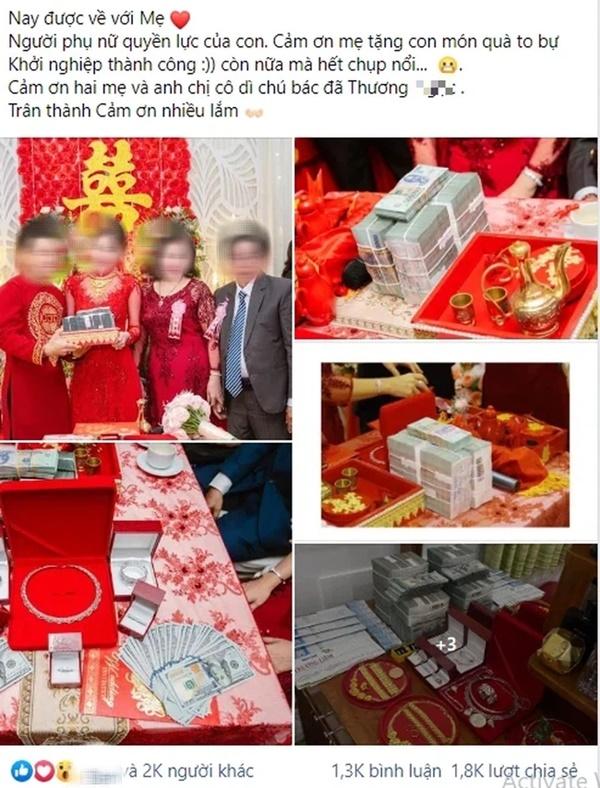 Đám cưới khủng ở An Giang: Hơn 2 tỷ quà cưới, của hồi môn gồm tiền, vàng, ngoại tệ, kim cương chất đầy bàn khiến MXH xỉu lên xỉu xuống-1