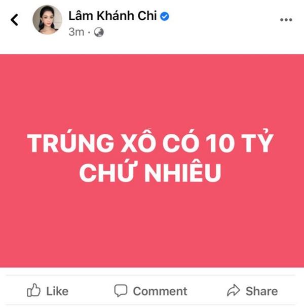 """Lâm Khánh Chi tuyên bố trúng xô"""" 10 tỷ đồng, 1 phút sau gây hoang mang vì vội xoá đi!-1"""