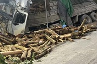 Xe tải chở gỗ keo gặp tai nạn thảm khốc ở Thanh Hóa, 7 người ngồi trên ca bin tử vong