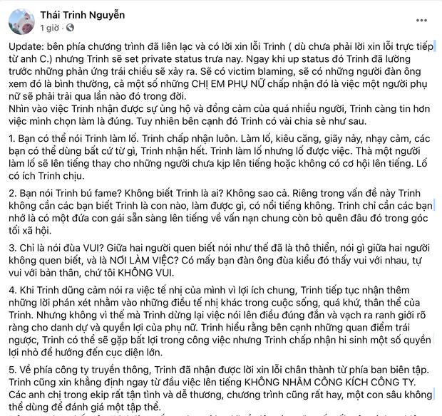 Ekip chính thức xin lỗi Thái Trinh vì lùm xùm nhân viên quay phim sàm sỡ, nhân vật bị tố liệu có phản hồi?-1