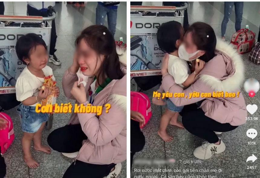 Hình ảnh mẹ trẻ khóc nức nở ôm con giữa sân bay khiến dân mạng nhói lòng-1
