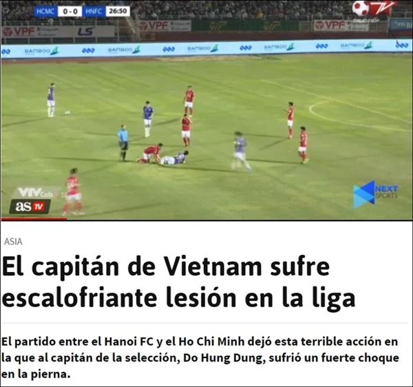 Báo chí thế giới đồng loạt đưa tin về chấn thương kinh hoàng của Hùng Dũng, lo lắng cho cơ hội đi tiếp của tuyển Việt Nam ở vòng loại World Cup-1