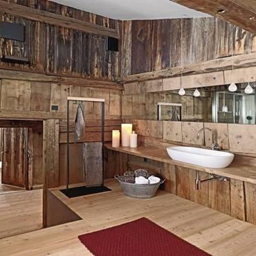 Ý tưởng thiết kế phòng tắm thân thiện với môi trường:Thảm lót chân bằng đá haygiá đỡ khăn bằng dây cũng không độc đáo bằng việc lắp thêm lò sưởi-4