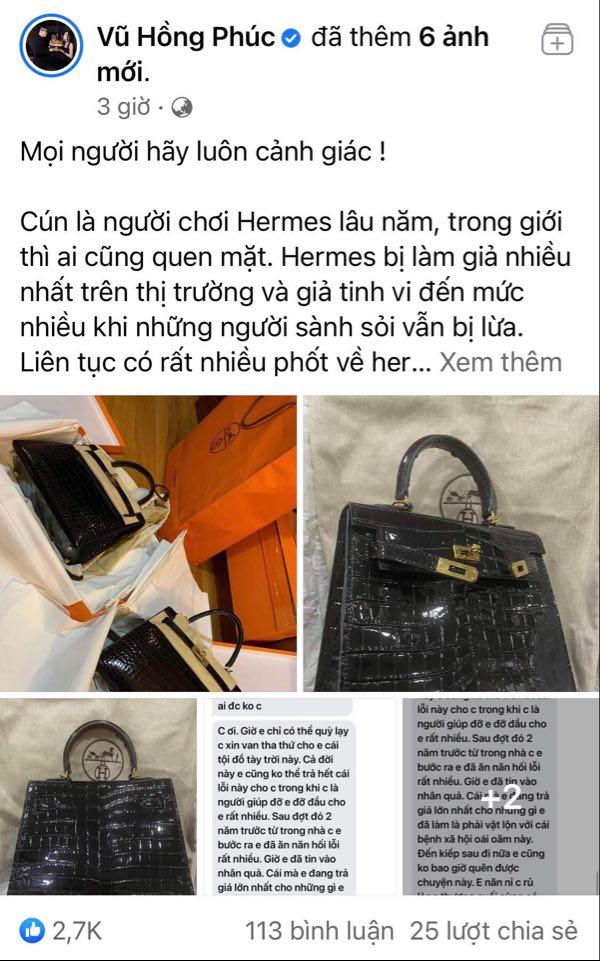 Tay chơi hàng hiệu số một Hà Nội phanh phui vụ đánh tráo túi Hermes 1,5 tỷ liên quan đến stylist của người nổi tiếng trong showbiz-3