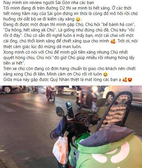 Dắt xe máy hết xăng trên đường, cô gái cảm kích khi nhận được sự giúp đỡ nhiệt tình của chú tài xế xe ôm-1