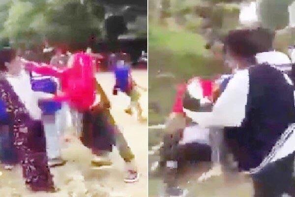 Nhóm học sinh cấp 3 dùng mũ bảo hiểm đánh đập dã man nữ sinh lớp 8 gây phẫn nộ-1