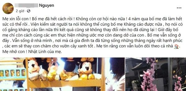 Gia đình bé Nhật Linh không còn cơ hội kháng cáo, vụ án chính thức khép lại, người mẹ chia sẻ cảm xúc đầy chua xót-3