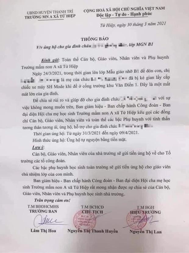 Trường mầm non ở Hà Nội kêu gọi ủng hộ tiền mua xe SH cho phụ huynh bị mất cắp: Hiệu trưởng lên tiếng-1