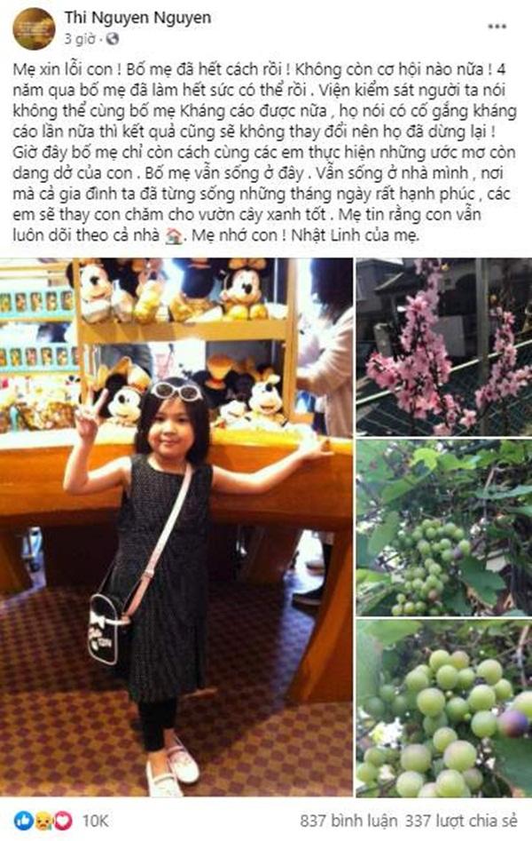 Chia sẻ xót xa của mẹ bé Nhật Linh khi vụ án không còn cơ hội kháng cáo: Xin lỗi con! Bố mẹ đã hết cách rồi-1