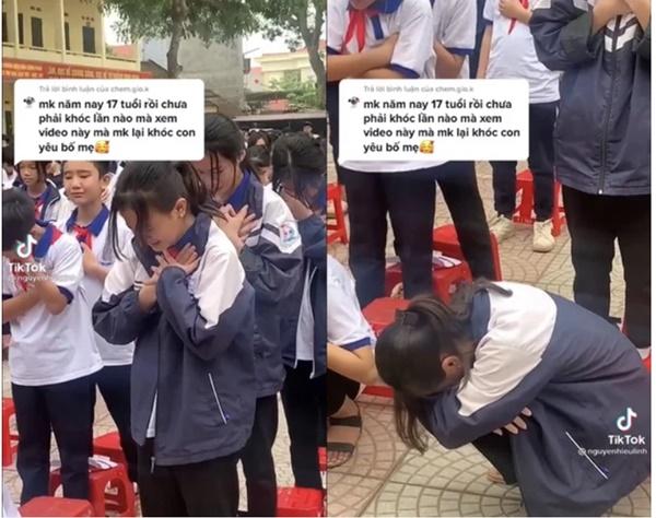 Video: Hơn 1.000 học sinh khóc nức nở giữa sân trường, một nữ sinh đang đứng bỗng cúi rạp người xuống-1