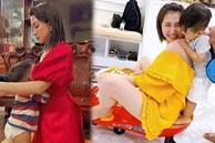Vừa đi về chưa kịp thay váy áo, Hòa Minzy đã bị con trai vạch ra đòi ti, nuôi con bằng sữa mẹ nhưng nữ ca sĩ lại gây tranh cãi vì 1 điều