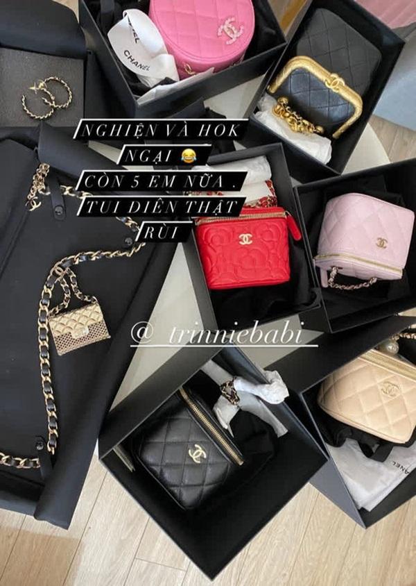 Rich kid Trinh Hoàng mua cả lố túi Chanel như gom hàng trăm rưỡi, trăm bảy trên mạng-1