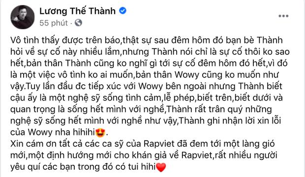 Lương Thế Thành lên tiếng khi bị Wowy gọi sai tên tại concert Rap Việt, cách xử lý được công chúng khen ngợi rần rần-1
