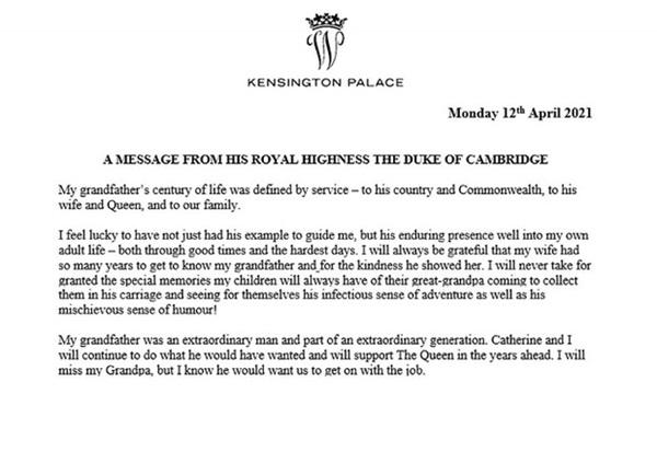 Hoàng tử William và em trai Harry cùng lên tiếng trước sự ra đi của ông nội – cố Hoàng thân Philip trong chia sẻ đầy xúc động-2
