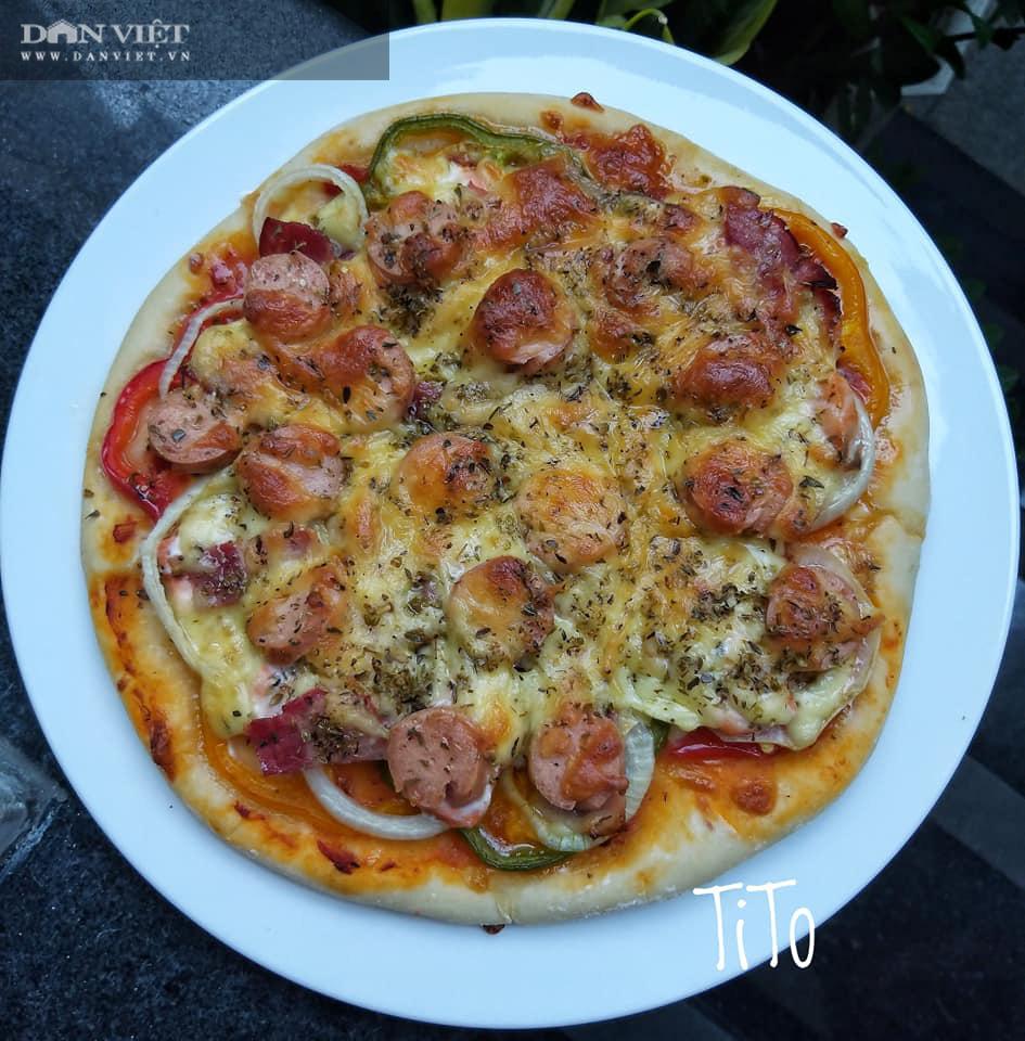 Cách làm bánh pizza cá hồi xúc xích thịt xông khói-13