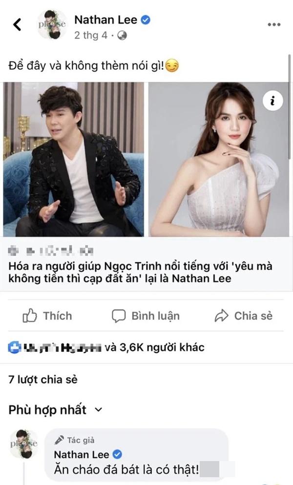Nathan Lee đưa hẳn bài viết về Ngọc Trinh và ám chỉ ăn cháo đá bát, gây phẫn nộ vì hành động trái ngược hẳn với lời nói-1