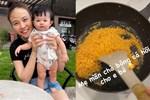 Lấy chồng đại gia, Đàm Thu Trang vẫn là bà mẹ đảm đang khi đích thân vào bếp làm ruốc cá hồi bổ dưỡngcho con gái