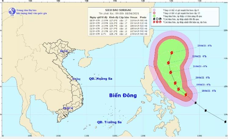 Siêu bão Surigae cấp 17 đang quần thảo trên biển Philippines thay đổi hướng đi, nguy cơ ảnh hưởng trực tiếp tới biển Đông-1