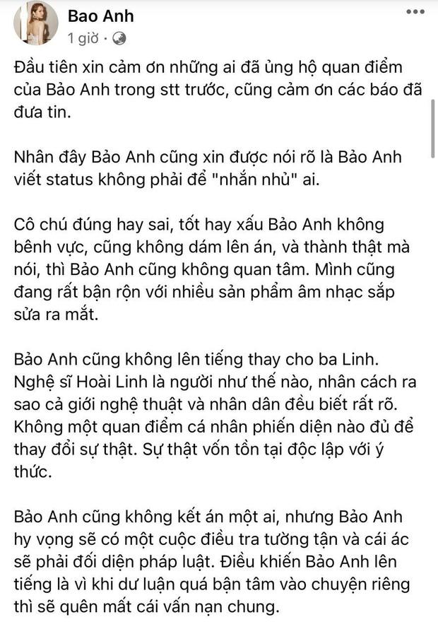 """Bảo Anh phản hồi về status nghi nhắn nhủ tới vợ Dũng lò vôi"""", nói rõ lý do không lên tiếng thay cho NS Hoài Linh-1"""