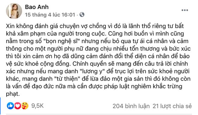 """Bảo Anh phản hồi về status nghi nhắn nhủ tới vợ Dũng lò vôi"""", nói rõ lý do không lên tiếng thay cho NS Hoài Linh-4"""
