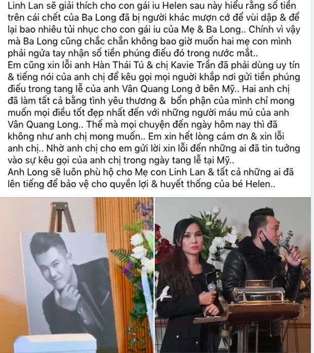 Linh Lan tuyên bố không nhận tiền phúng điếu, ẩn ý vợ cũ NS Vân Quang Long đứng sau vụ đòi giấy tờ huyết thống của bé Helen?-4