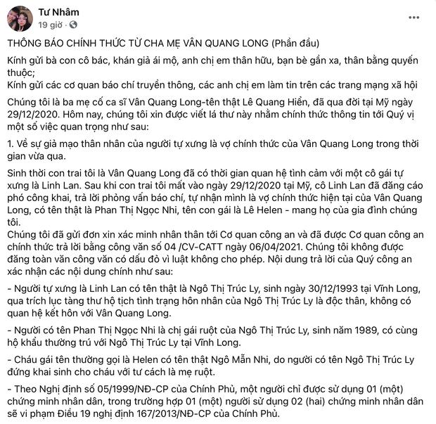 Bố mẹ Vân Quang Long liên hệ công an xác minh nhân thân Linh Lan là giả mạo, khẳng định cố NS có vợ chính thức tại Mỹ-1