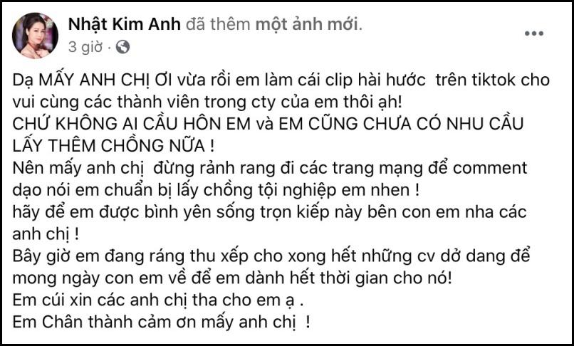 Nhật Kim Anh nói rõ về tin đồn được Titi cầu hôn, khẳng định chưa có nhu cầu lấy thêm chồng-1