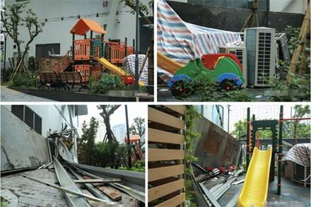 Vụ giàn cục nóng điều hòa đổ sập xuống sân chơi chung cư ở Hà Nội: