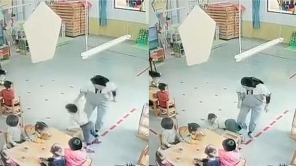 Clip: Cô giáo mầm non đánh, dúi đầu bé gái ngã ngửa ra sàn gây phẫn nộ-2