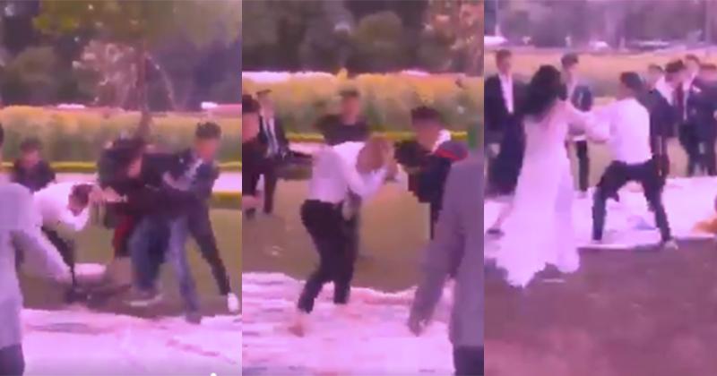 Xôn xao clip nhóm nam sinh lao vào đánh nhau trong buổi chụp ảnh kỷ yếu, bạn học nữ can ngăn không thành-1