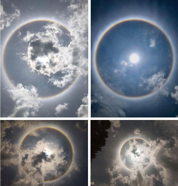 Chùm ảnh: Quầng mặt trời xuất hiện trên bầu trời nhiều tỉnh thành phía Bắc khiến dân mạng xôn xao-2
