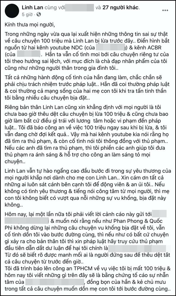 Bị tố lừa đảo 100 triệu chi phí tang lễ NS Vân Quang Long, Linh Lan tuyên bố: Đã báo công an và đang đợi kết quả-3