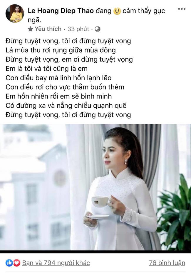 Hậu ly hôn được chia nghìn tỷ, bà Lê Hoàng Diệp Thảo đăng trạng thái gục ngã, mượn lời bài hát bóng gió số phận của mình-1