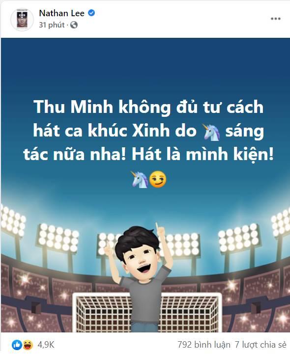 Nathan Lee tuyên bố sốc, nói Thu Minh không đủ tư cách hát ca khúc Xinh do mình sáng tác nữa-1