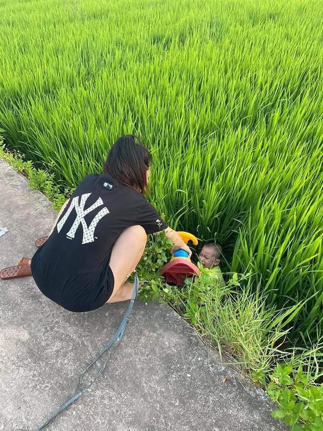 Được chị dắt đi chơi, cậu bé ngã lộn cổ xuống ruộng, hình ảnh sau đó khiến người ta không nhịn được cười-4