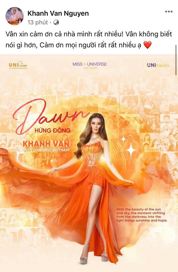 Khánh Vân có chia sẻ đầu tiên sau Bán kết Miss Universe 2020, nói 1 câu mà dàn sao Vbiz đồng loạt trầm trồ và động viên-1