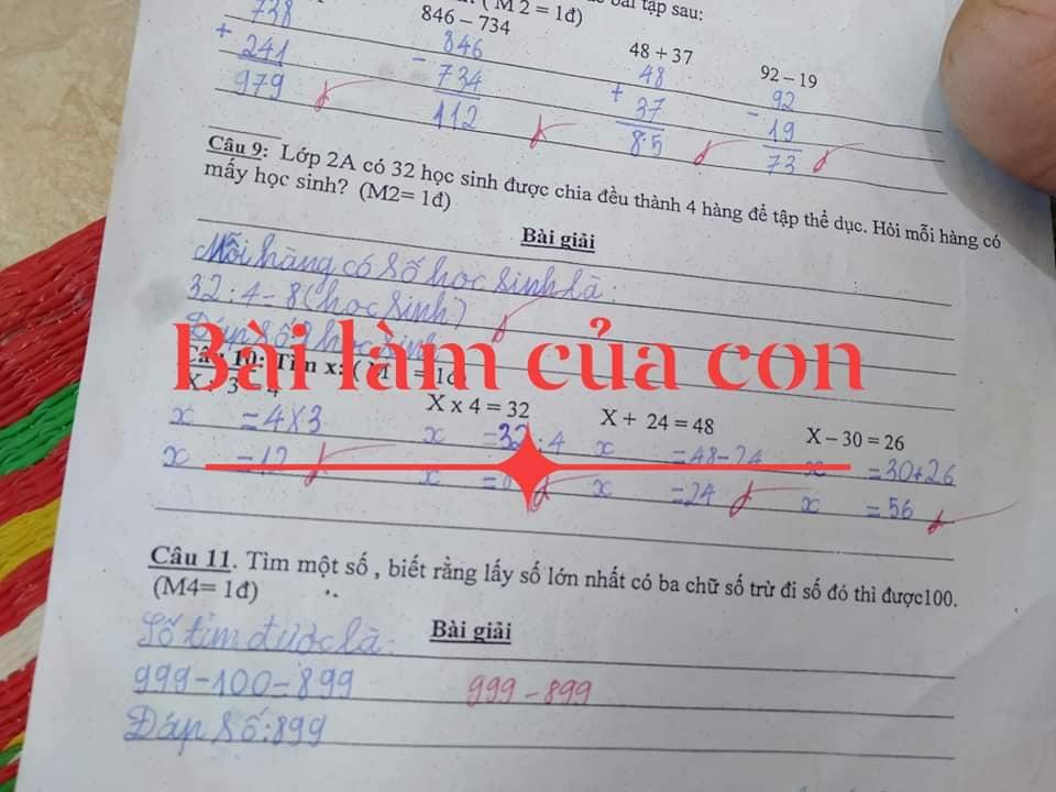 Mẹ hoang mang xin ý kiến khi so sánh bài kiểm tra Toán lớp 1 của con và bạn cùng lớp: Là cô sai hay trò sai?-1