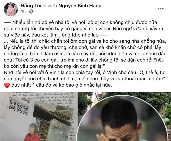 Hằng Túi bất ngờ chia sẻ bên lề vụ chị họ người hùng Nguyễn Ngọc Mạnh tử vong, đáng chú ý là câu nói từ bố của hot mom khi con gái nhắc về chuyện ly hôn-1