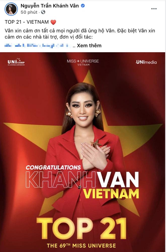 Khánh Vân đã có chia sẻ đầu tiên sau khi bị loại khỏi Top 10 Miss Universe 2020-1